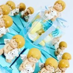 Torta bomboniera battesimo nascita con angioletti per maschietto
