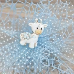 Bomboniere nascita celeste magnete giraffa