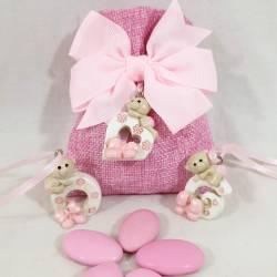 Sacchetti confetti Battesimo bimba con pendente orsetti