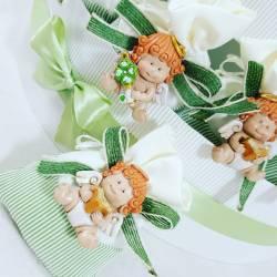 Sacchetti per confetti bomboniere Battesimo angioletti 2