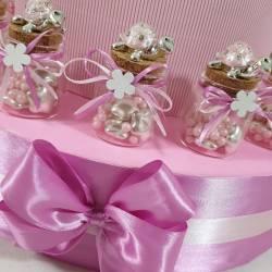 Bomboniere Battesimo tartarughe rosa con strass scatoline portaconfetti economiche1