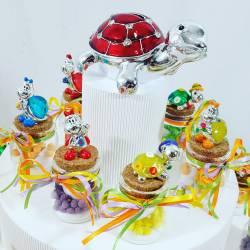 Bomboniere Battesimo utili vasetti portaspezie su torta bomboniera2
