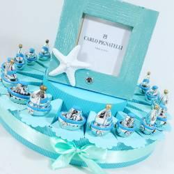 Torta bomboniere barchetta e nave argentate cornice Carlo Pignatelli