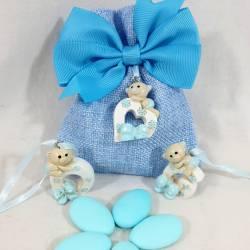 Sacchettini portaconfetti pendente orsetti per bomboniere Battesimo maschio