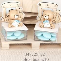 Plexiglas orsetto bomboniera battesimo bimbo trenino in legno
