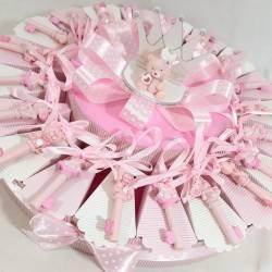 Torta di Bomboniere nascita appendini animaletti rosa