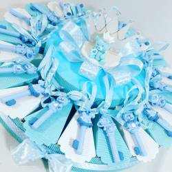 Torta di Bomboniere battesimo appendini animaletti azzurri