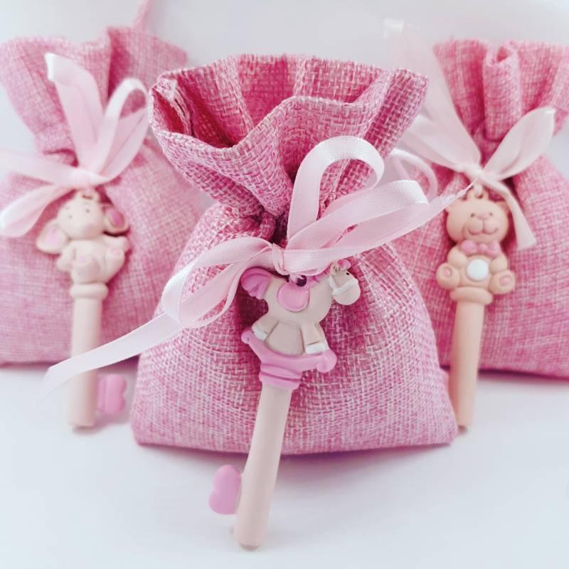 Sacchetti rosa chiavi animali orsetto elefante cavalluccio nascita