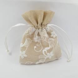 Sacchetto comunione cotone e organza fiori ricamata