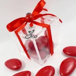 IDEA bomboniere per LAUREA in INFERMIERISTICA, MEDICINA e chirurgia in PLEXIGLASS Stetofonendoscopio, NASTRO e  confetti rossi