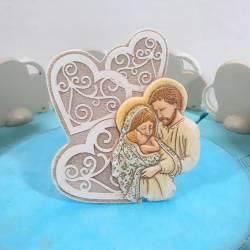 Torta bomboniera bambino cuore sacra famiglia ceramica effetto pietra nascita battesimo