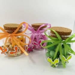 Portaconfetti vasetti in vetro ciondoli farfalline colorate