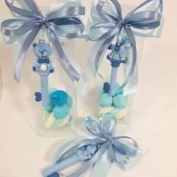 Scatoline portaconfetti battesimo animaletti chiavi azzurre