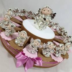 Torta bomboniera angeli argentati madre perla