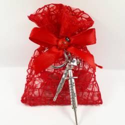 Sacchetto in rete bomboniere laurea FARMACIA tris tocco, termometro, siringa portachiavi confetti rossi