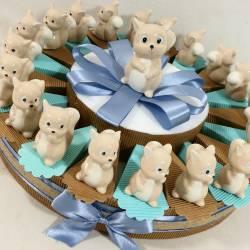 Torta bomboniera Battesimo scoiattoli in ceramica bimbo