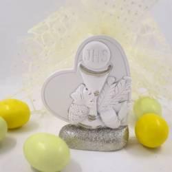 Bomboniere Comunione cuore bianco con base argento