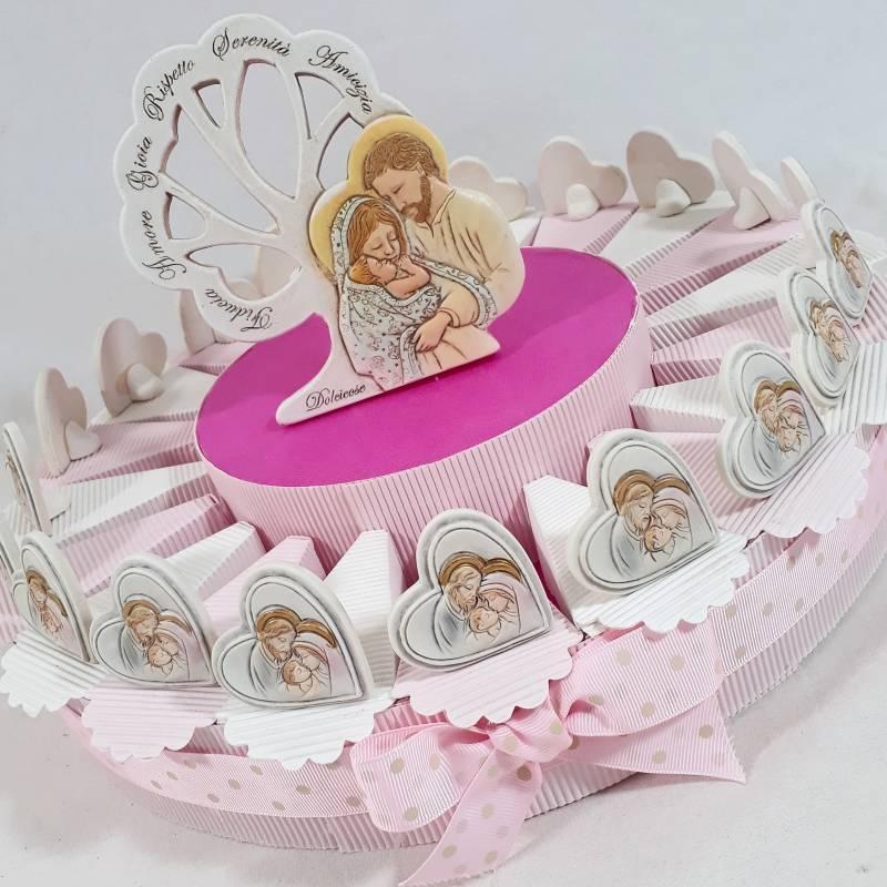 Torta bambina tema sacra famiglia con cuori da appoggio e centrale Carlo Pignatelli