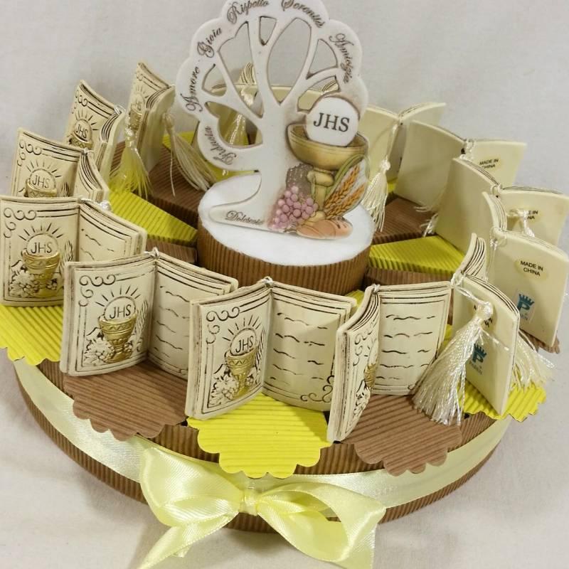 Torta bomboniere Comunione vangelo con immagine del calice SPEDIZIONE GRATUITA
