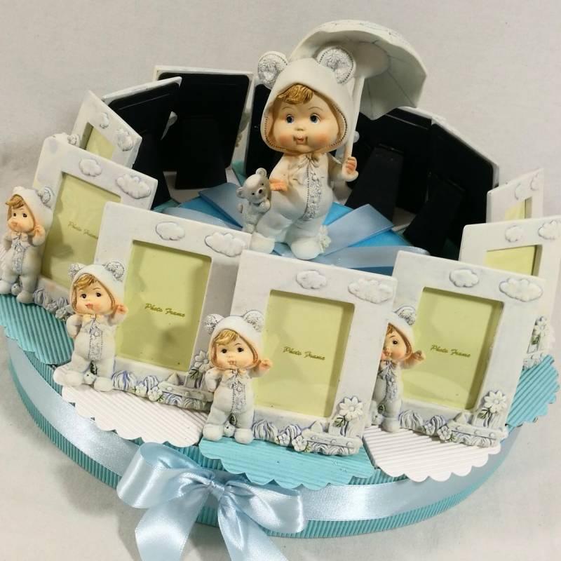 Torta bomboniera Battesimo portafoto bimbo ombrellino