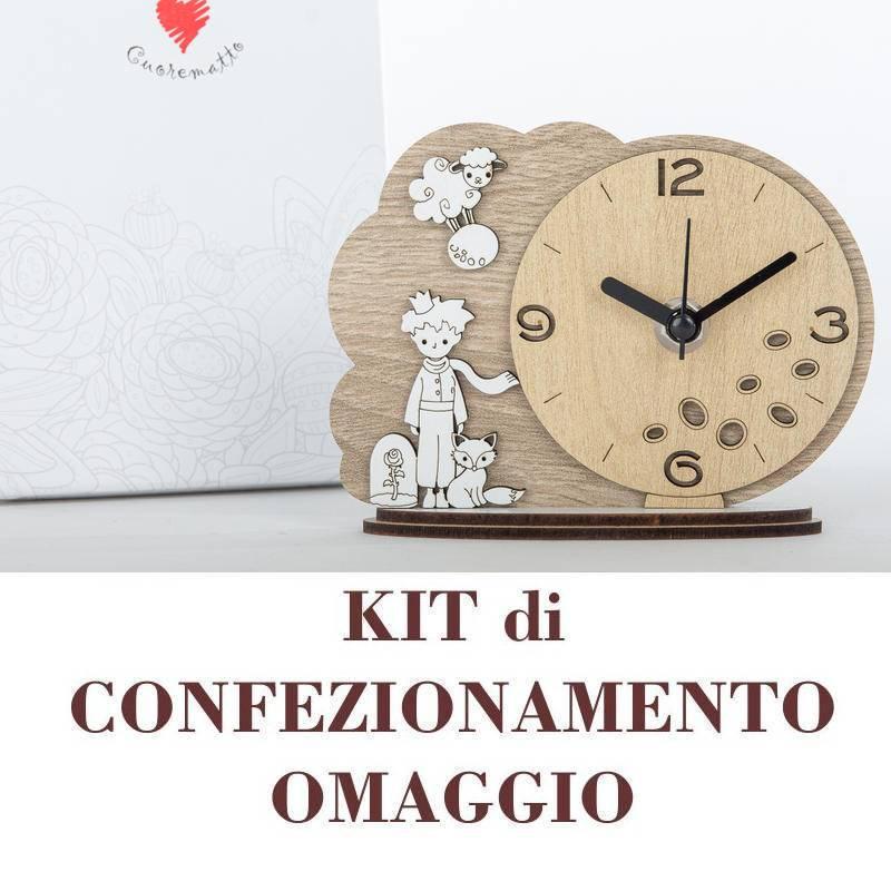 """Bomboniere cuore matto orologio in legno """"Cuordiprincipe"""" con principe, volpe e rosa"""