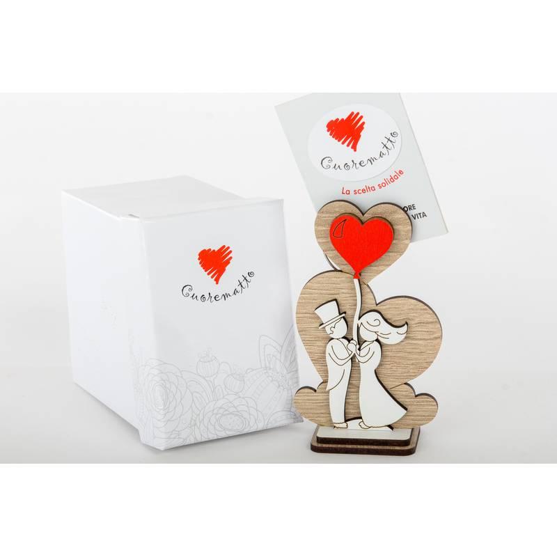 Clip porta foto sposi cuore matto bomboniere in legno