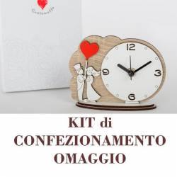 Orologio in legno made in Italy Bomboniere Cuorematto con sposi