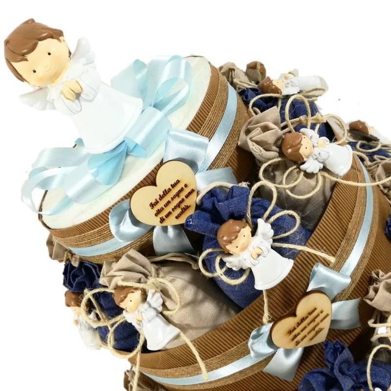 Torta bomboniere Comunione bimbo angelo a calamita su sacchetto