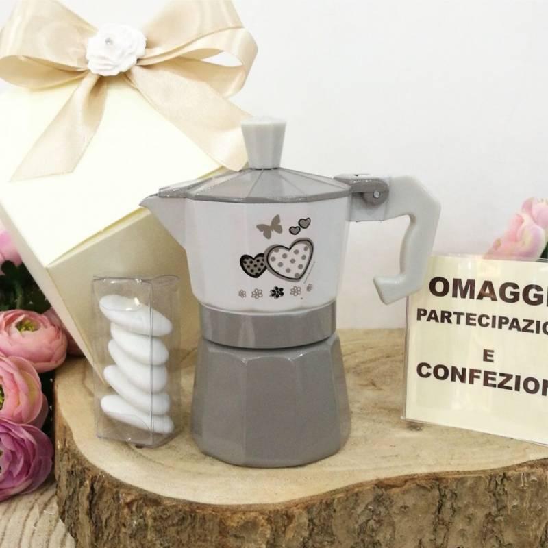 Bomboniere Matrimonio Con Farfalle.Bomboniera Utile Caffettiera Matrimonio Cuori E Farfalle Complete