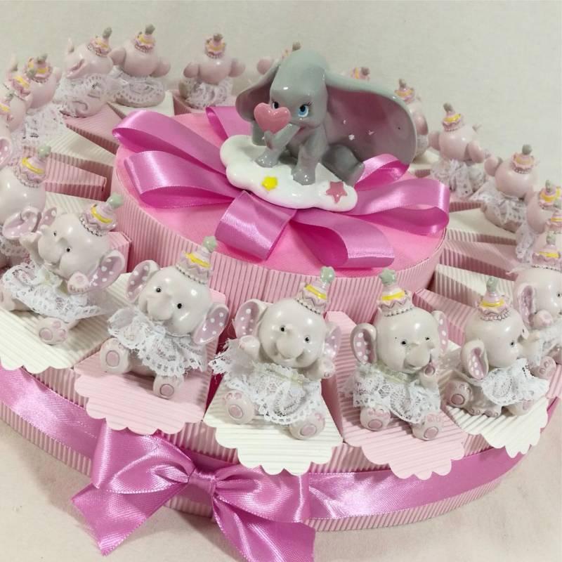 Torta bomboniera elefantino Dumbo rosa per bimba