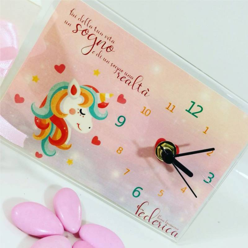 Bomboniere unicorno orologio personalizzato confezione inclusa