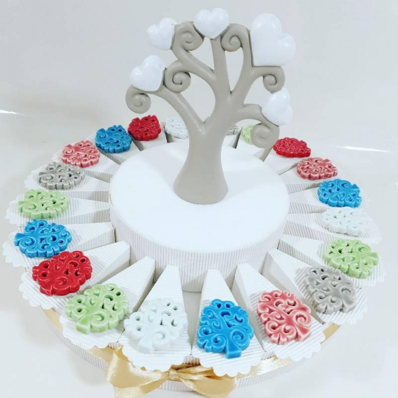 Torta Bomboniere albero della vita magneti colorati