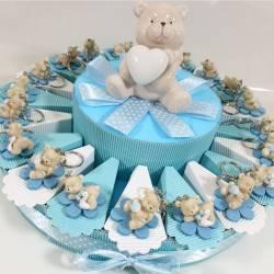 Torta di bomboniere bimbo portachiavi on line orsetti su fiore