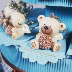 Torta bomboniera orsetti portachiavi DaddyHeart ideali per battesimo comunione cresima maschietto