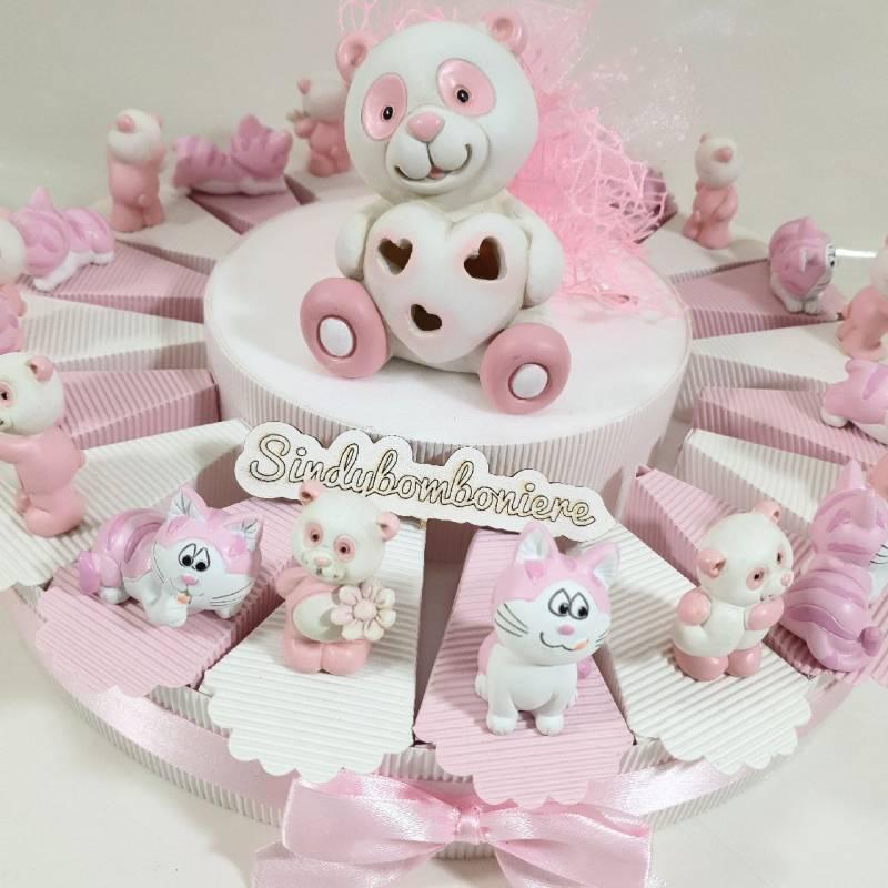 Torta di bomboniere fai da te animali rosa panda gattino
