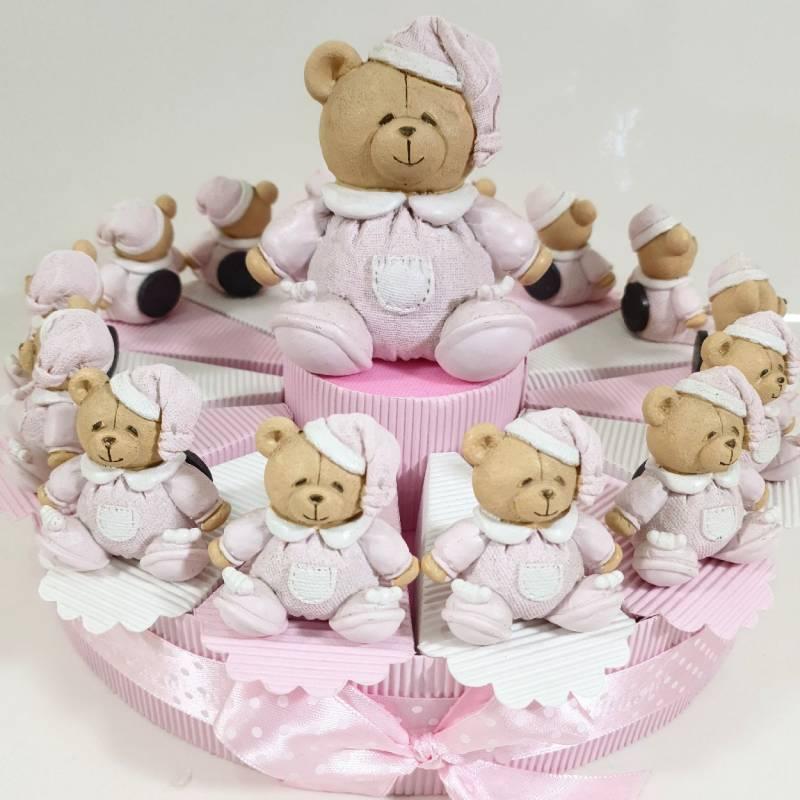Torta bomboniere economiche orsetto rosa statuetta a calamita
