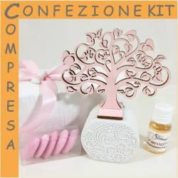 Bomboniere Battesimo profumatori bimba albero della vita rosa