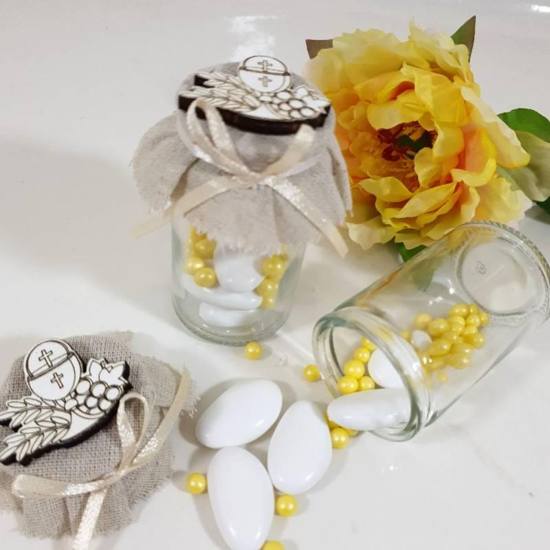 Portaconfetti Comunione vesetto di vetro con applicazione calice