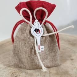 Sacchetti laurea chiave in legno per confetti rossi