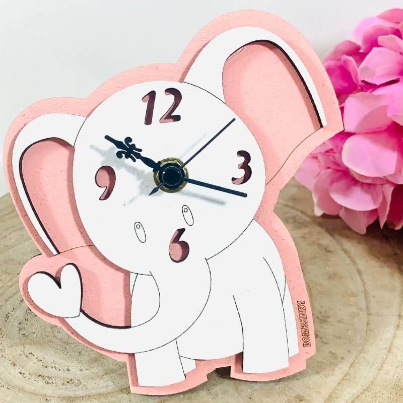 Orologio elefantino bomboniere Battesimo rosa