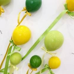 Palloncini in ceramica da appendere a muro verdi e gialli