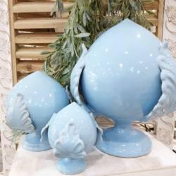 Pumo di Puglia in ceramica celeste decorativo