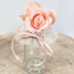 Portaconfetti in vetro con fiori color pesco eventi