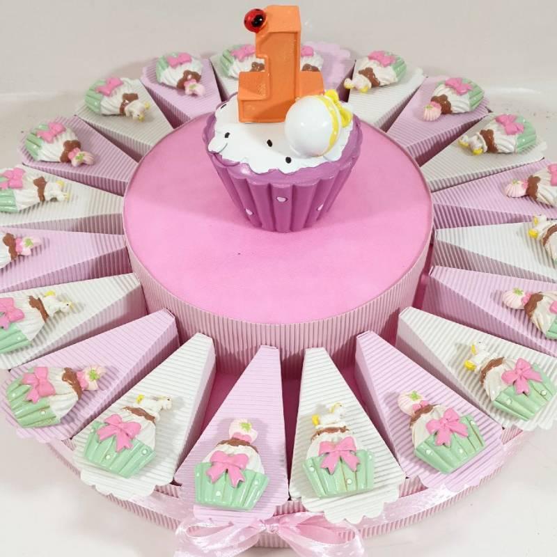 Torta bomboniere primo compleanno bimba magnete cupcake