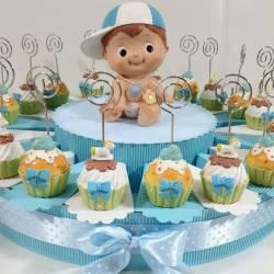 Torta bomboniere Battesimo bimbo portafoto cupcake