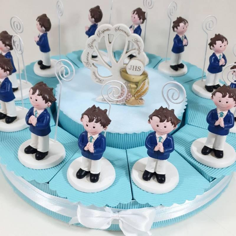 Torta bomboniere Comunione maschio clip portafoto abito blu