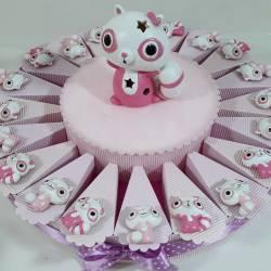 Torta di bomboniere bimba scoiattolo rosa magnete