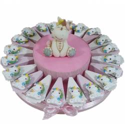 Torta di bomboniere Battesimo unicorno bimba fiore celeste