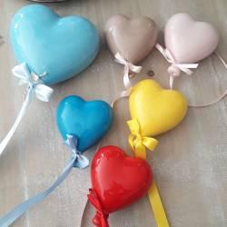 Palloncini di ceramica a forma di cuore per bomboniere Battesimo