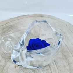 Rosa stabilizzata in vetro a forma di cigno di colore blu